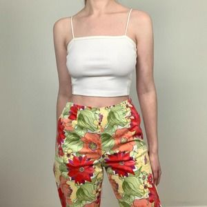 Talbots Floral High Waisted Crop Pants